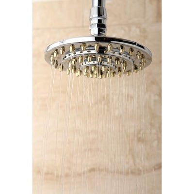 "Chrome with Polished Brass Trim 6"" 3 Tier High Pressure showerhead K206A4"