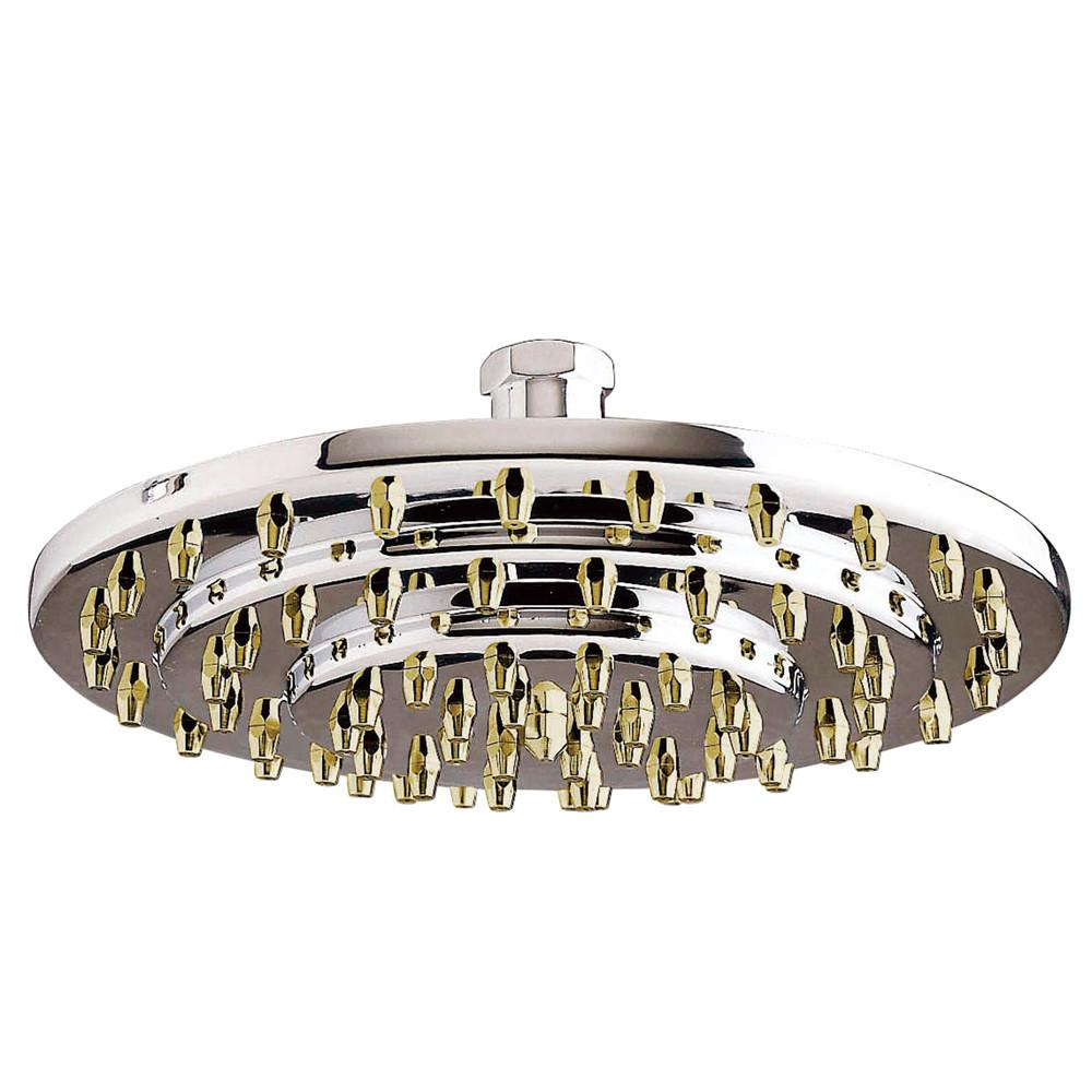"Chrome with Polished Brass Trim Shower heads 8"" 3 Tier Large showerhead K208A4"