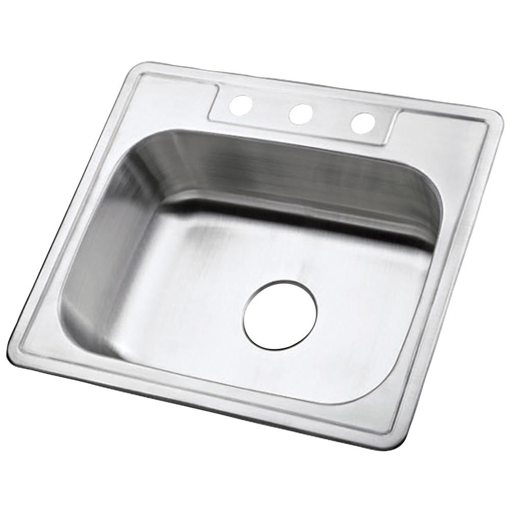 Brushed Nickel Gourmetier Single Bowl Self-Rimming Kitchen Sink K25228BN