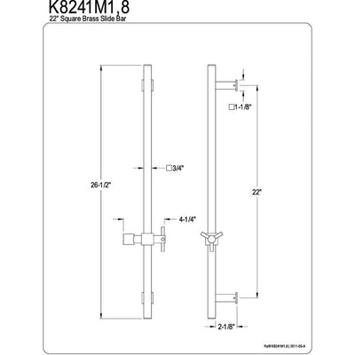 "Kingston Bathroom Accessories Satin Nickel 22"" Square Brass Slide Bar K8241M8"