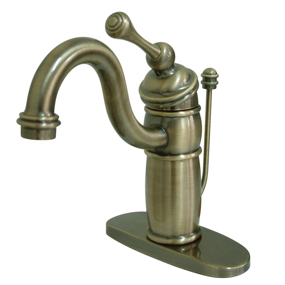 Kingston Brass Vintage Brass Single Handle Bathroom Faucet w Drain KB1403BL
