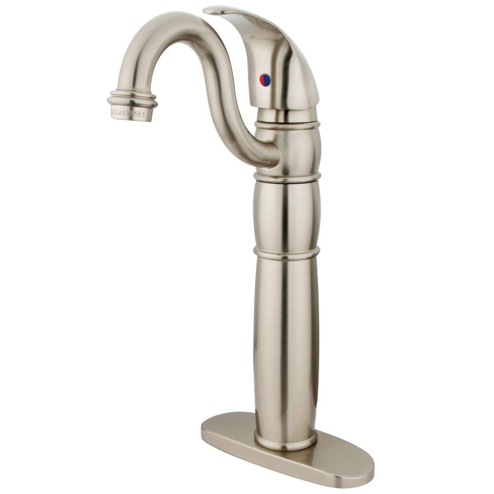 Kingston Brass Satin Nickel Single Handle Vessel Sink Bathroom Faucet KB1428LL
