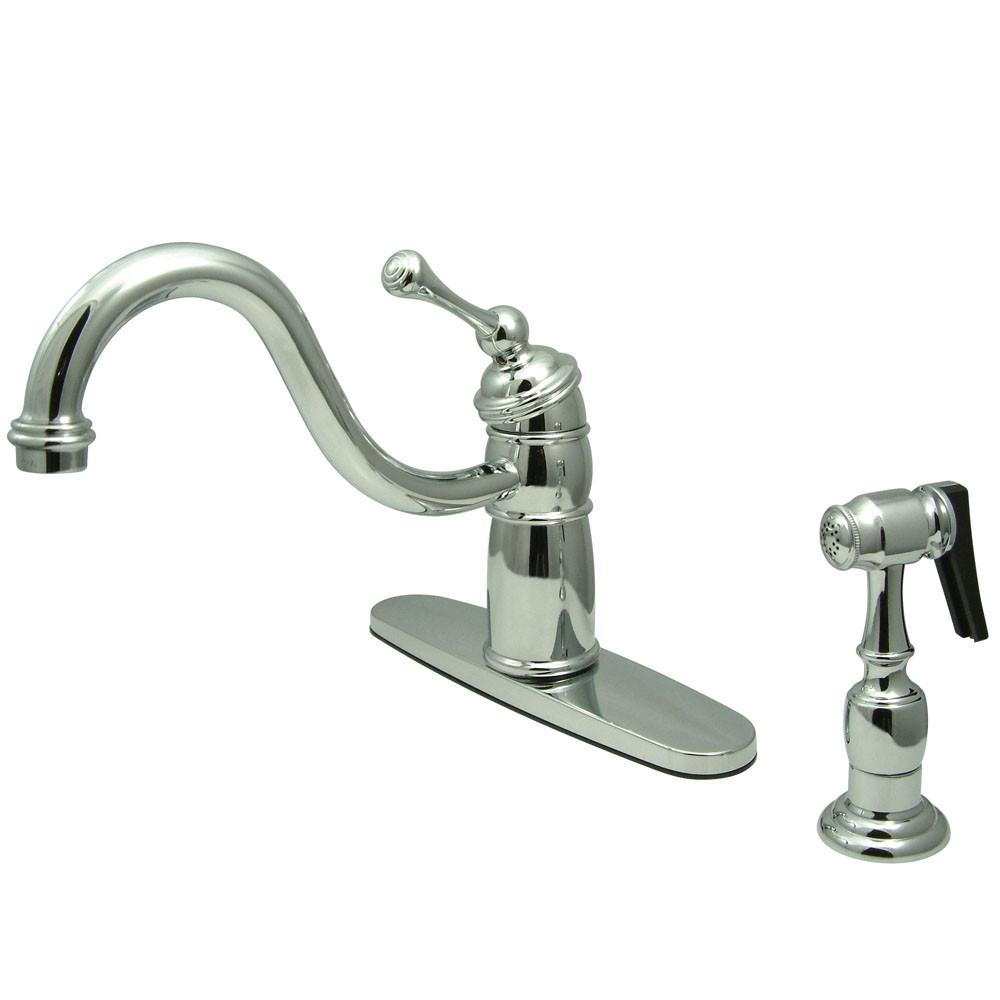 Kingston Brass Chrome Single Handle Kitchen Faucet With Brass Sprayer KB1571BLBS