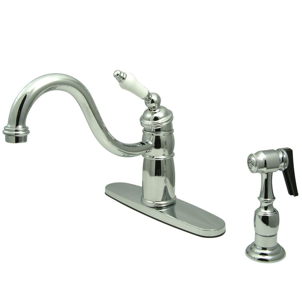 Kingston Brass Chrome Single Handle Kitchen Faucet With Brass Sprayer KB1571PLBS