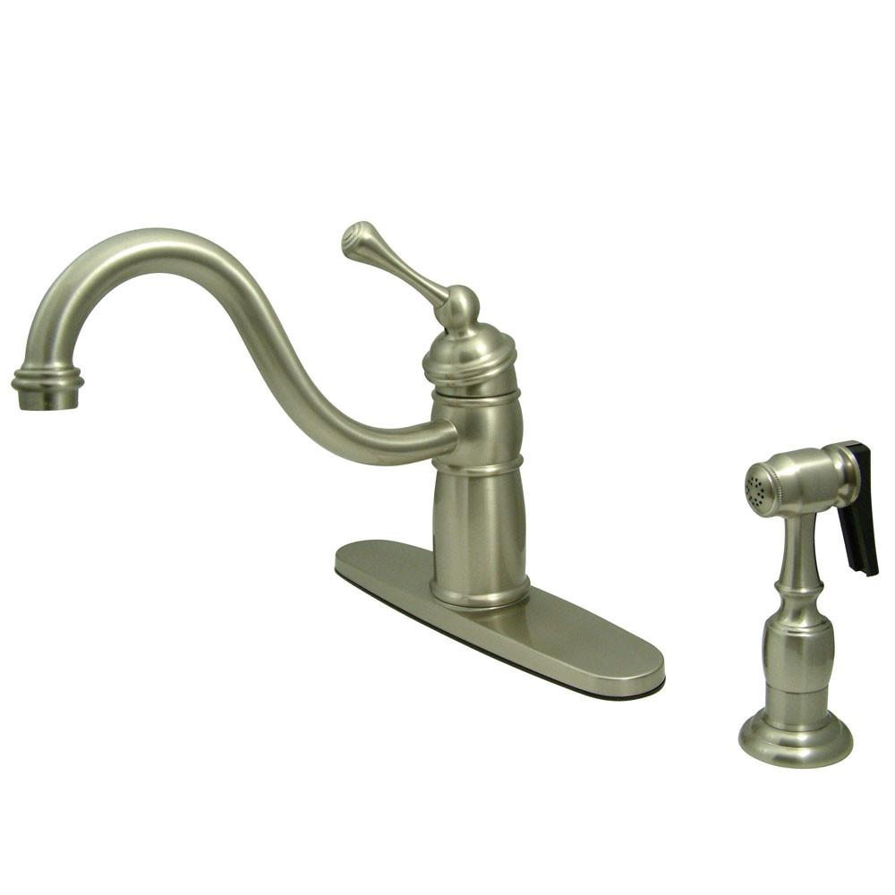 Kingston Satin Nickel Single Handle Kitchen Faucet With Brass Sprayer KB1578BLBS