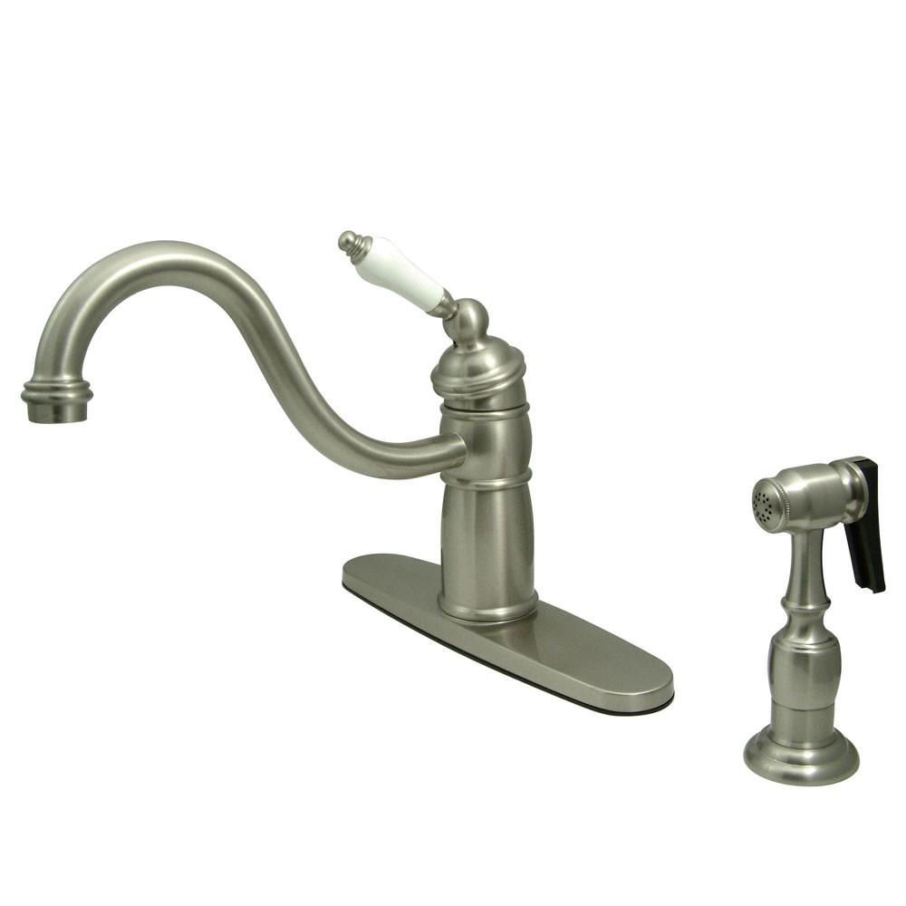 Kingston Satin Nickel Single Handle Kitchen Faucet With Brass Sprayer KB1578PLBS
