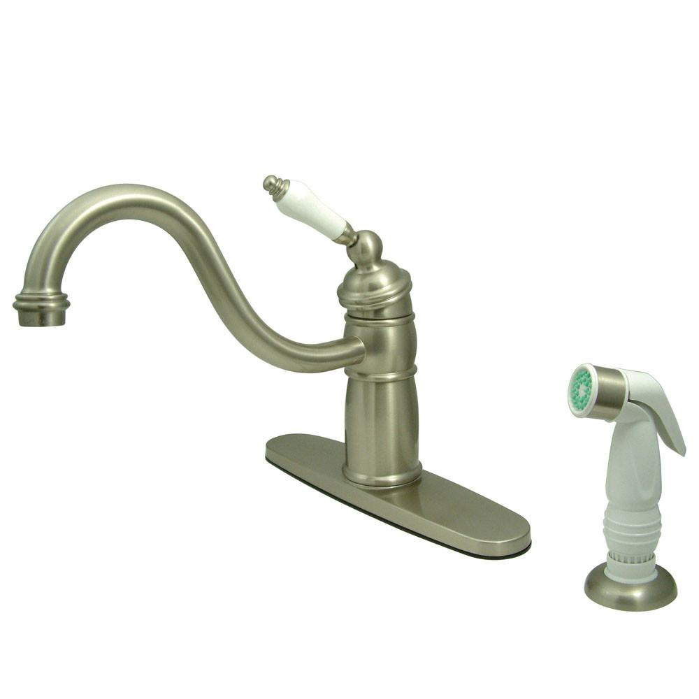 Kingston Brass Satin Nickel Single Handle Kitchen Faucet With Sprayer KB1578PL