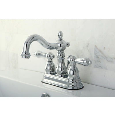 "Kingston Brass Chrome 2 Handle 4"" Centerset Bathroom Faucet with Pop-up KB1601AL"