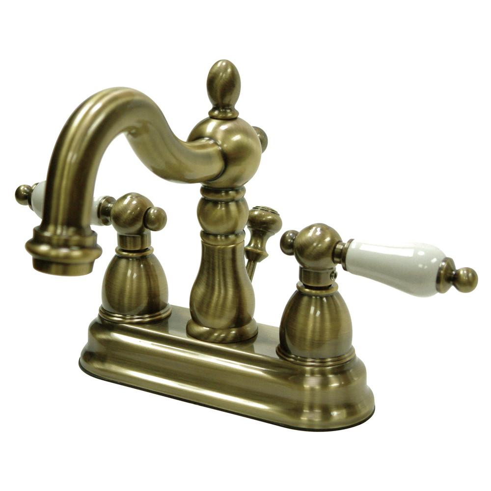 "Kingston Vintage Brass 2 Handle 4"" Centerset Bathroom Faucet w Drain KB1603PL"