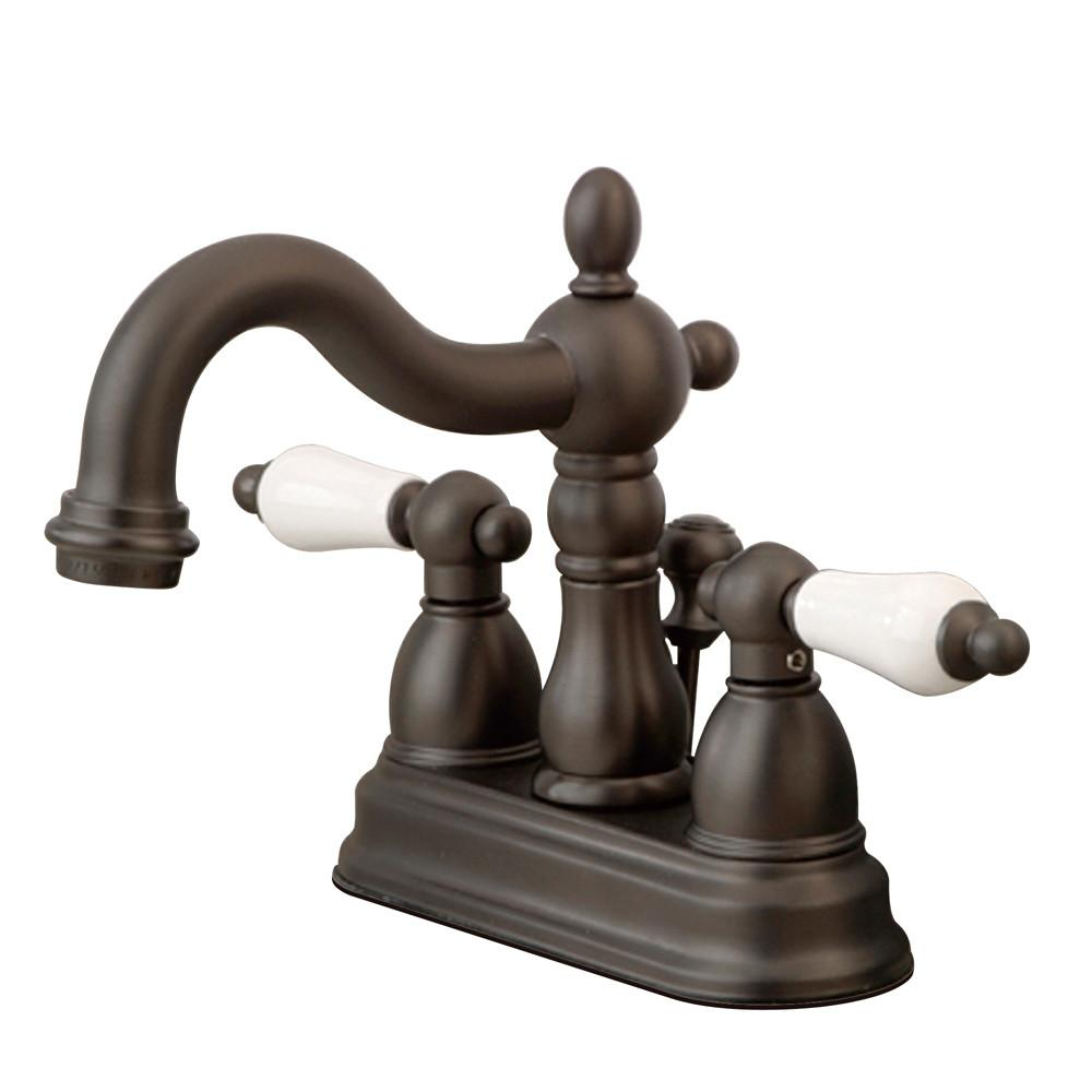 "Kingston Oil Rubbed Bronze 2 Handle 4"" Centerset Bathroom Faucet KB1605PL"