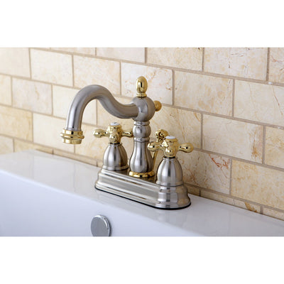 "Kingston Satin Nickel/Polished Brass 4"" Centerset Bathroom Faucet KB1609AX"