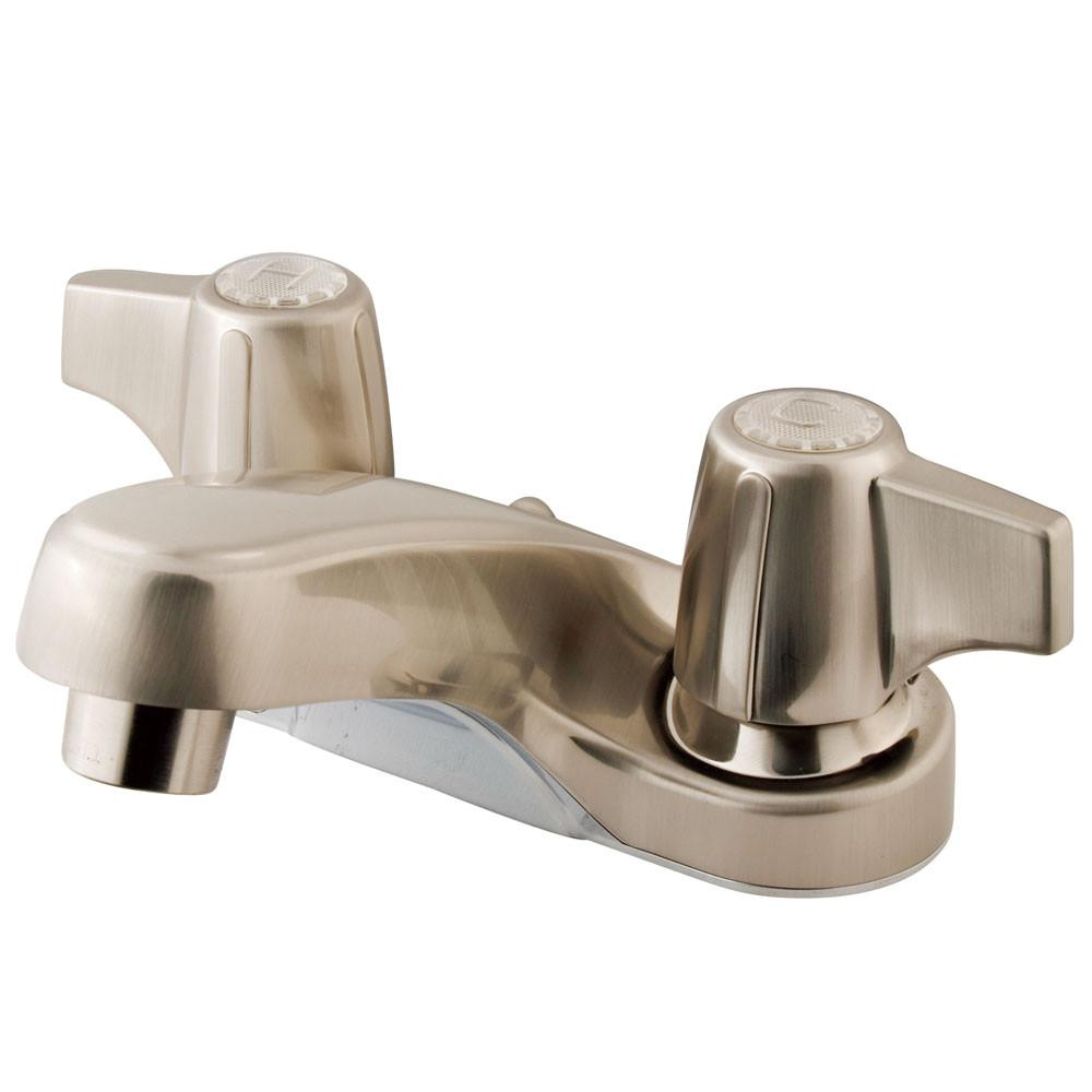 "Kingston Brass Satin Nickel 2 Handle 4"" Centerset Bathroom Faucet KB160SNLP"