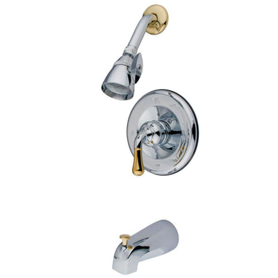 Kingston Chrome/Polished Brass Magellan tub and shower combination faucet KB1634
