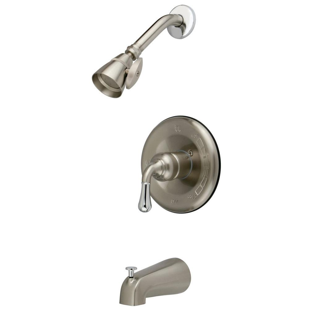 Kingston Satin Nickel/Chrome Magellan tub and shower combination faucet KB1637