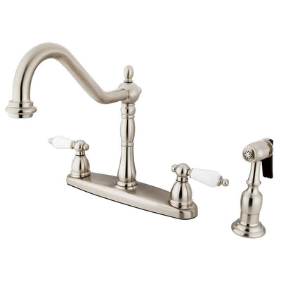 "Kingston Satin Nickel 8"" Centerset Kitchen Faucet with Brass Sprayer KB1758PLBS"