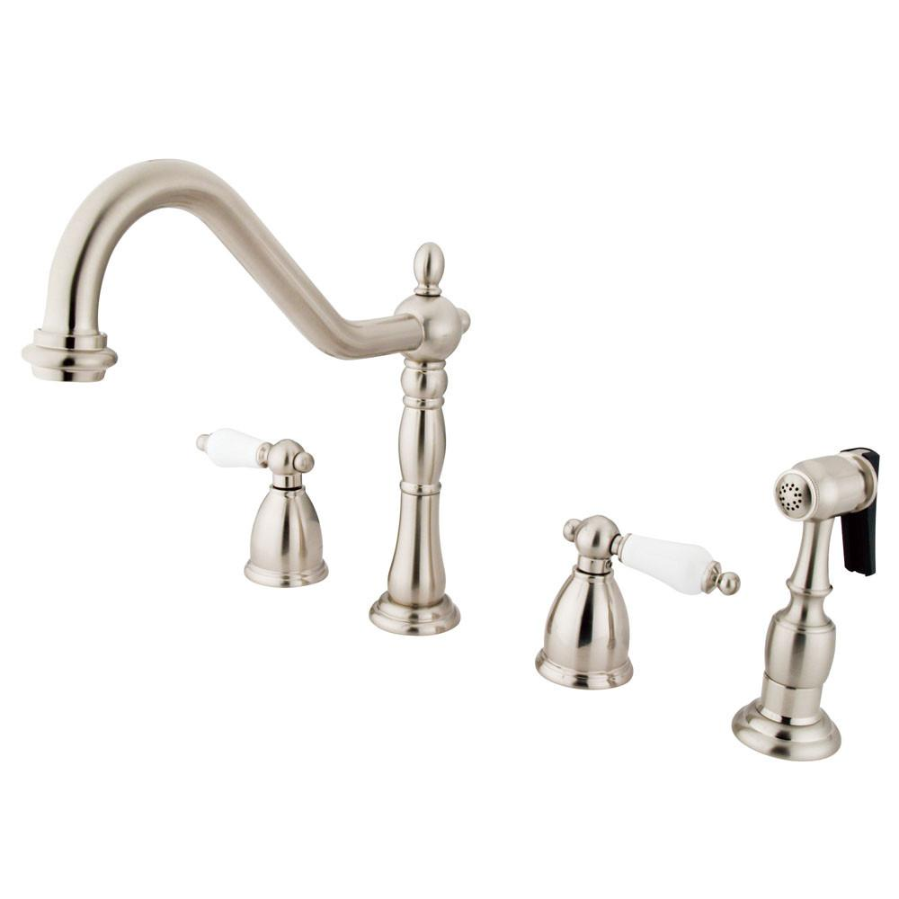 "Kingston Satin Nickel 8"" Widespread Kitchen Faucet with Brass Sprayer KB1798PLBS"