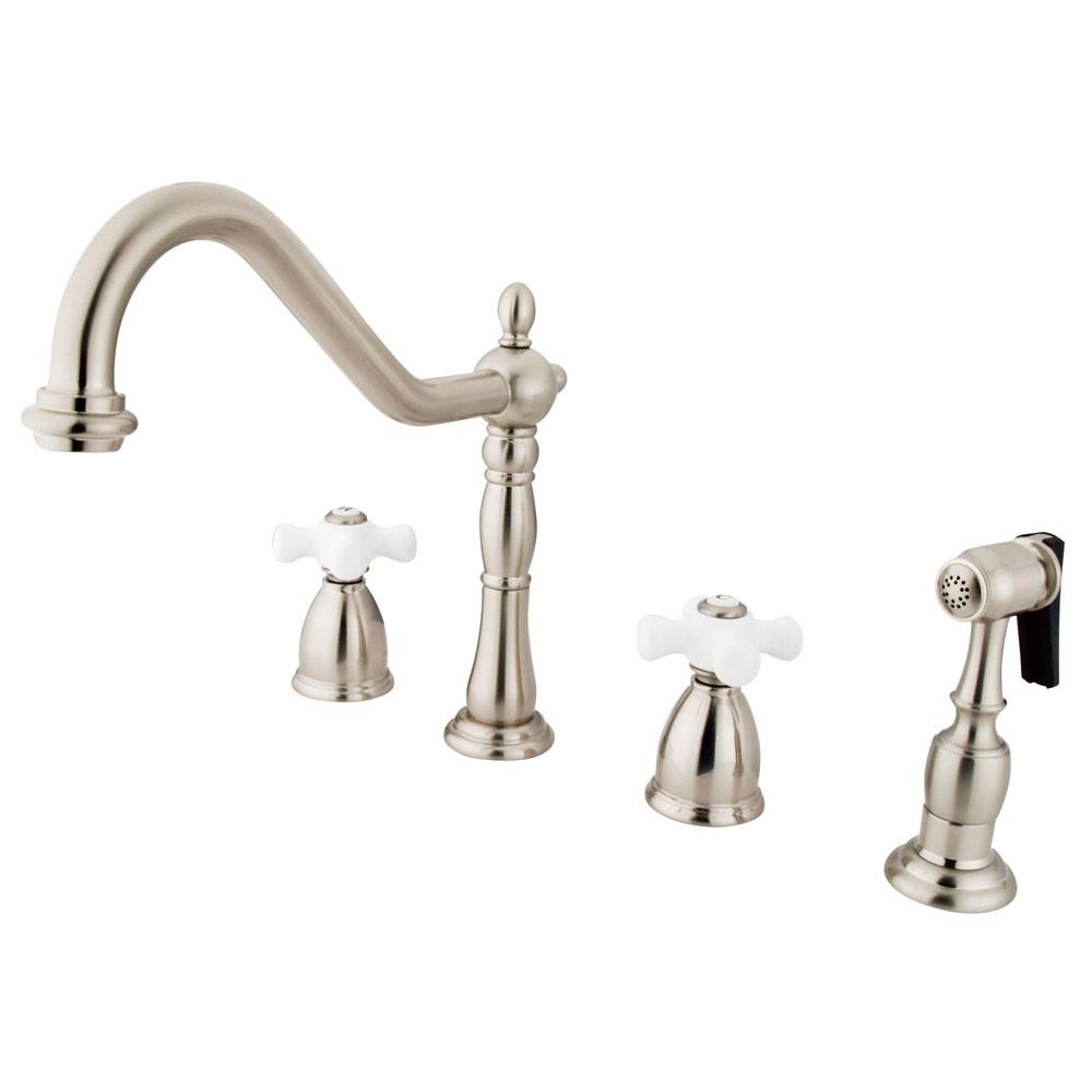 "Kingston Satin Nickel 8"" Center Kitchen Faucet with Brass Sprayer KB1798PXBS"