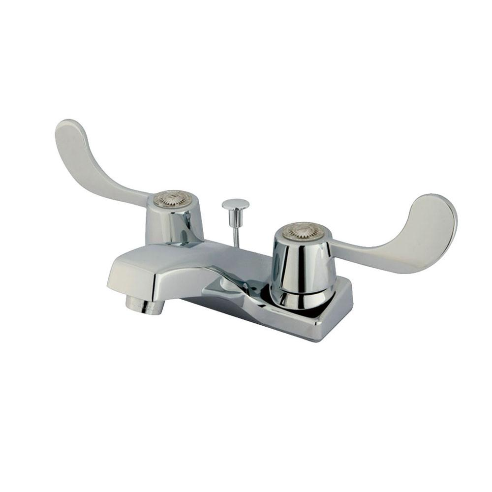 "Kingston Brass Chrome 2 Handle 4"" Centerset Bathroom Faucet with Pop-up KB191"