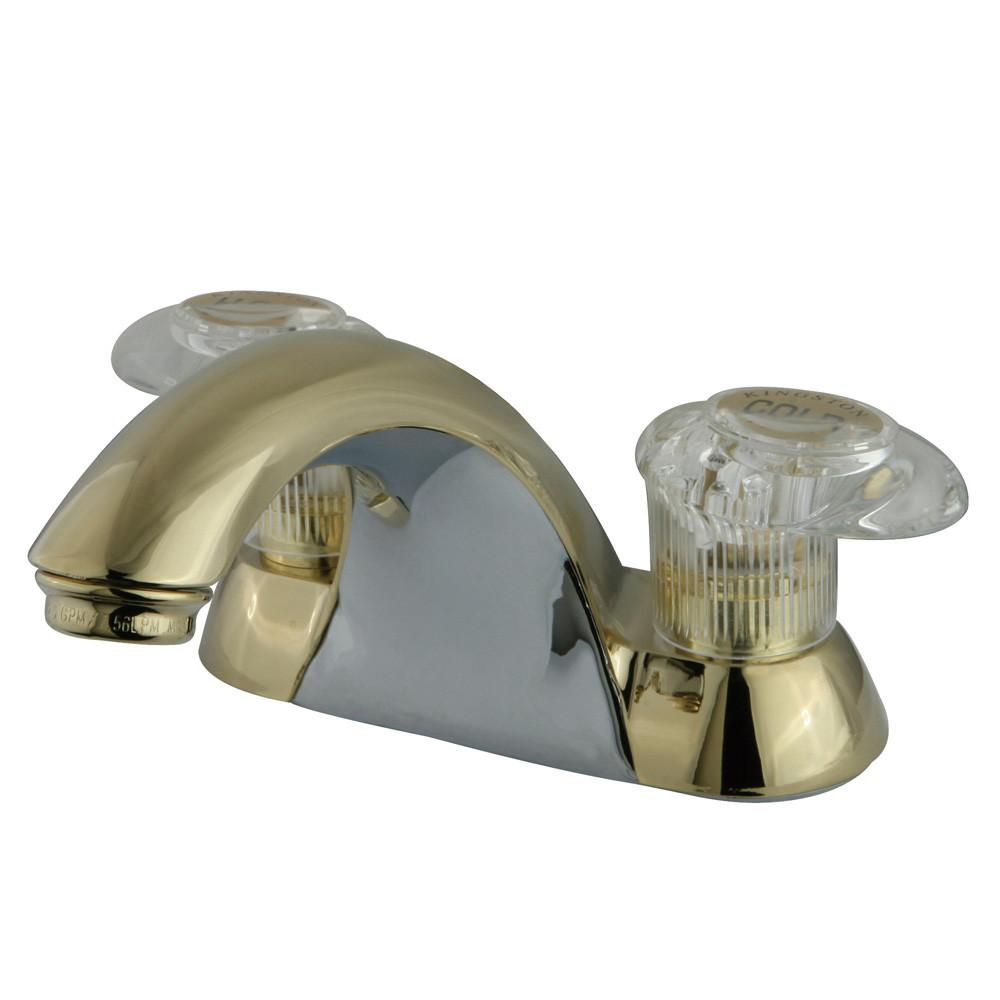 "Kingston Brass Polished Brass 2 Handle 4"" Centerset Bathroom Faucet KB2152LP"