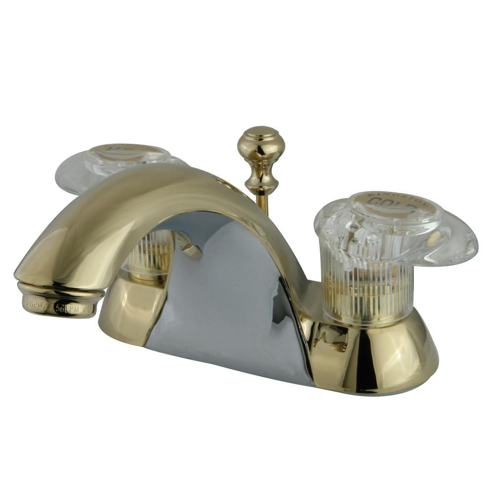 "Kingston Polished Brass 2 Handle 4"" Centerset Bathroom Faucet with Pop-up KB2152"