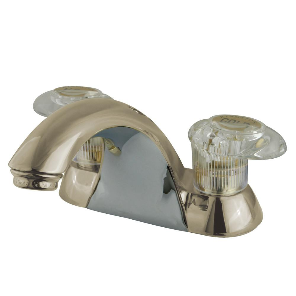 "Kingston Brass Satin Nickel 2 Handle 4"" Centerset Bathroom Faucet KB2158LP"