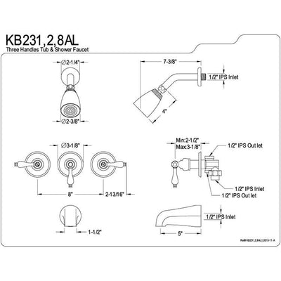 Kingston Magellan Chrome Three Handle Tub and Shower Combination Faucet KB231AL