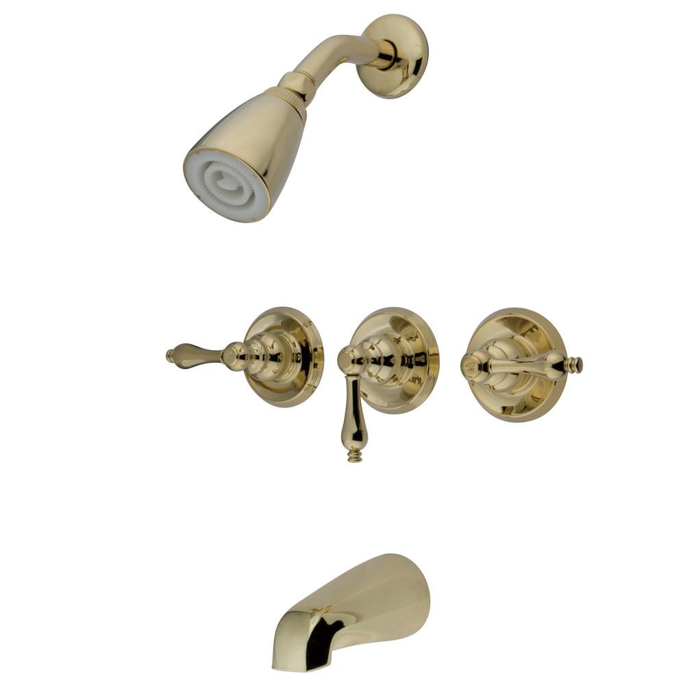 Kingston Magellan Polished Brass Three Handle Tub & Shower Combo Faucet KB232AL