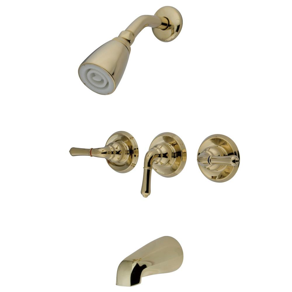 Polished Brass Magellan three handle tub and shower combination faucet KB232