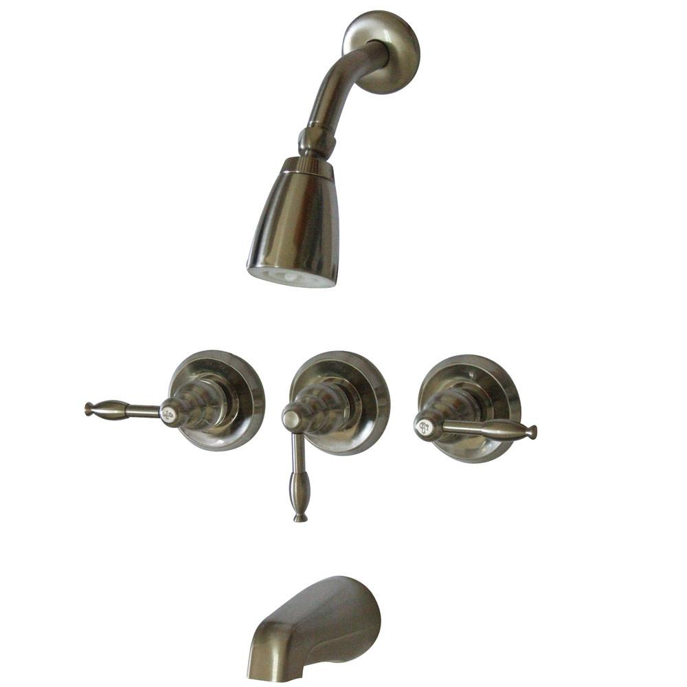 Kingston Magellan Satin Nickel Three Handle Tub and Shower Combo Faucet KB238KL
