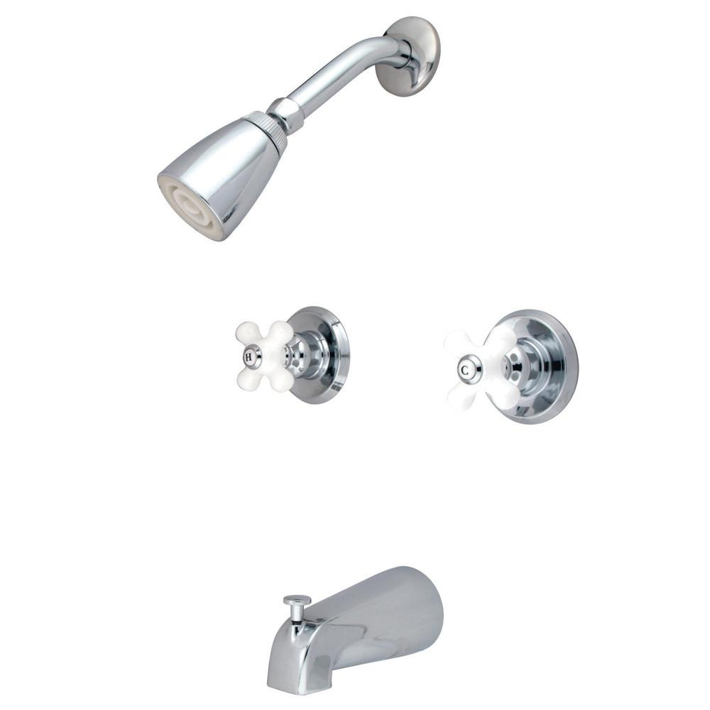 Chrome Magellan porcelain cross handle tub and shower combination faucet KB241PX