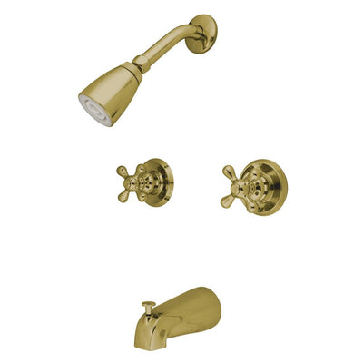 Kingston Polished Brass Two Handle Tub and Shower Combination Faucet KB242AX