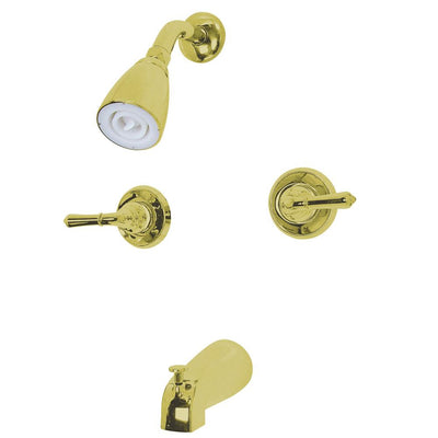 Polished Brass Magellan two handle tub and shower combination faucet KB242
