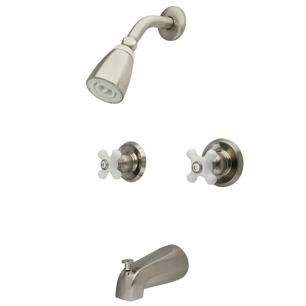 Satin Nickel Magellan porcelain cross handle tub & shower combo faucet KB248PX