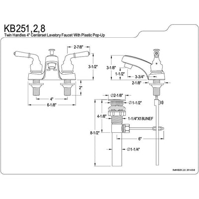 "Kingston Brass Chrome 2 Handle 4"" Centerset Bathroom Faucet with Pop-up KB251"