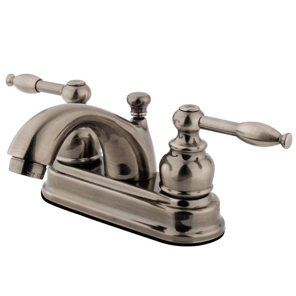 "Kingston Vintage Nickel 2 Handle 4"" Centerset Bathroom Faucet w Drain KB2600KL"