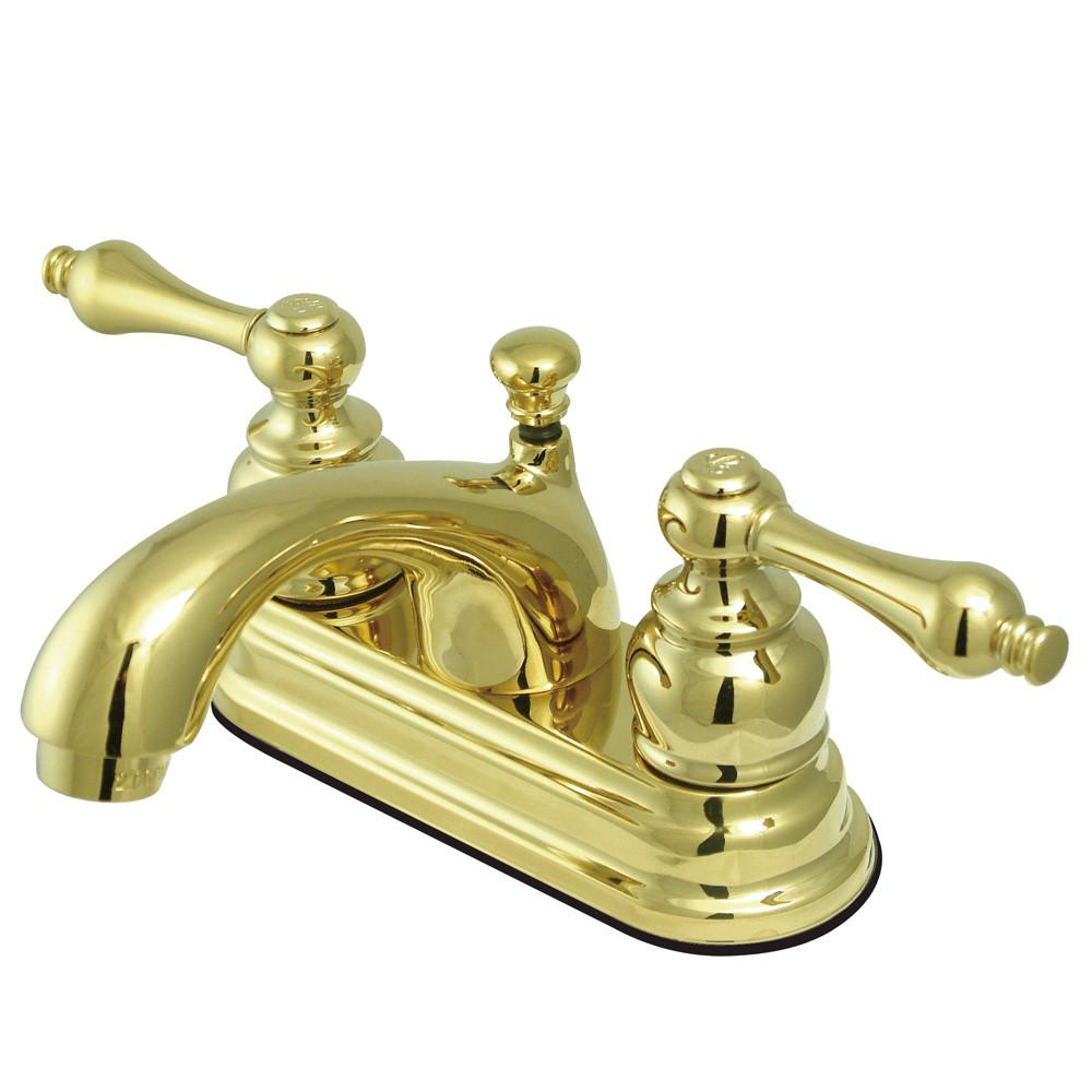 "Kingston Polished Brass 2 Handle 4"" Centerset Bathroom Faucet w Drain KB2602AL"