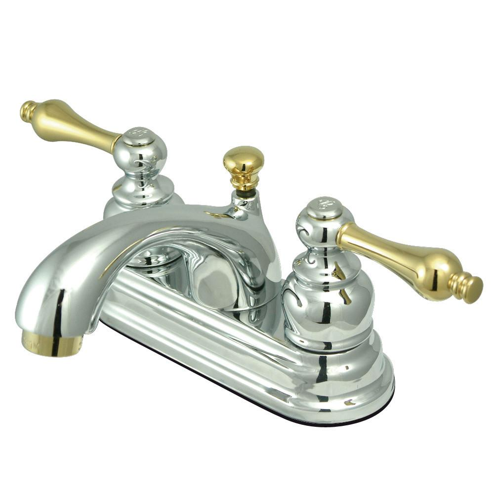 "Kingston Chrome/Polished Brass 4"" Centerset Bathroom Faucet w Pop-up KB2604AL"