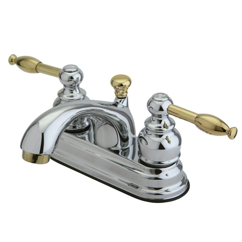 "Kingston Chrome/Polished Brass 4"" Centerset Bathroom Faucet w Pop-up KB2604KL"