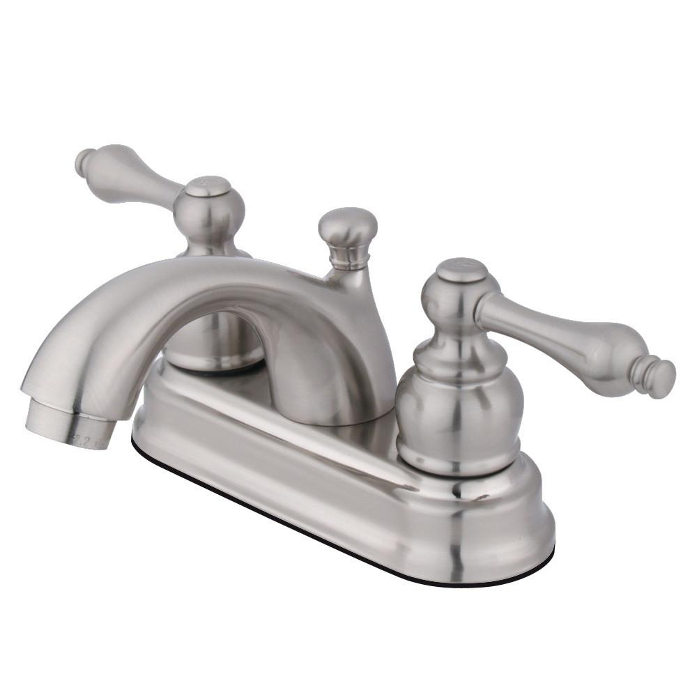 "Kingston Satin Nickel 2 Handle 4"" Centerset Bathroom Faucet with Pop-up KB2608AL"