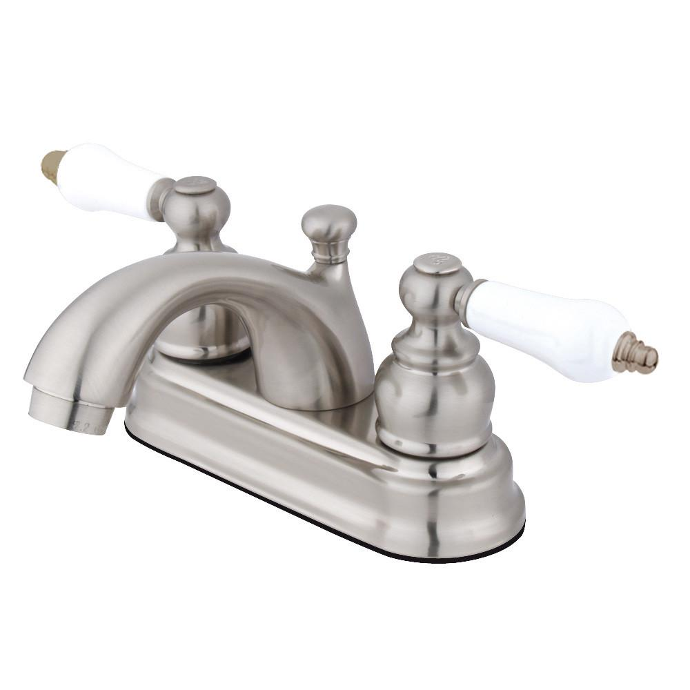 "Kingston Satin Nickel 2 Handle 4"" Centerset Bathroom Faucet with Pop-up KB2608PL"