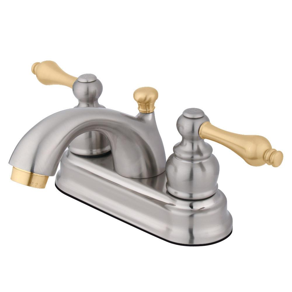 "Kingston Satin Nickel/Polished Brass 4"" Centerset Bathroom Faucet KB2609AL"