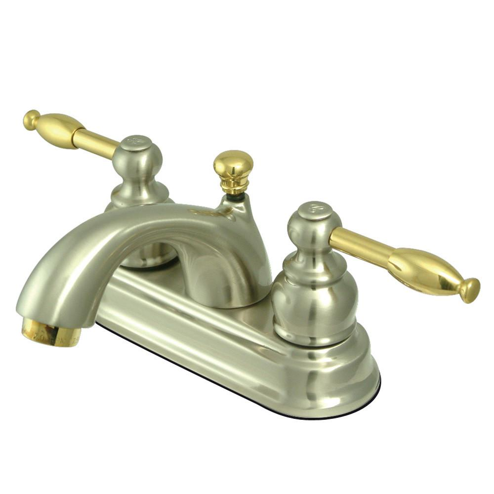 "Kingston Satin Nickel/Polished Brass 4"" Centerset Bathroom Faucet KB2609KL"