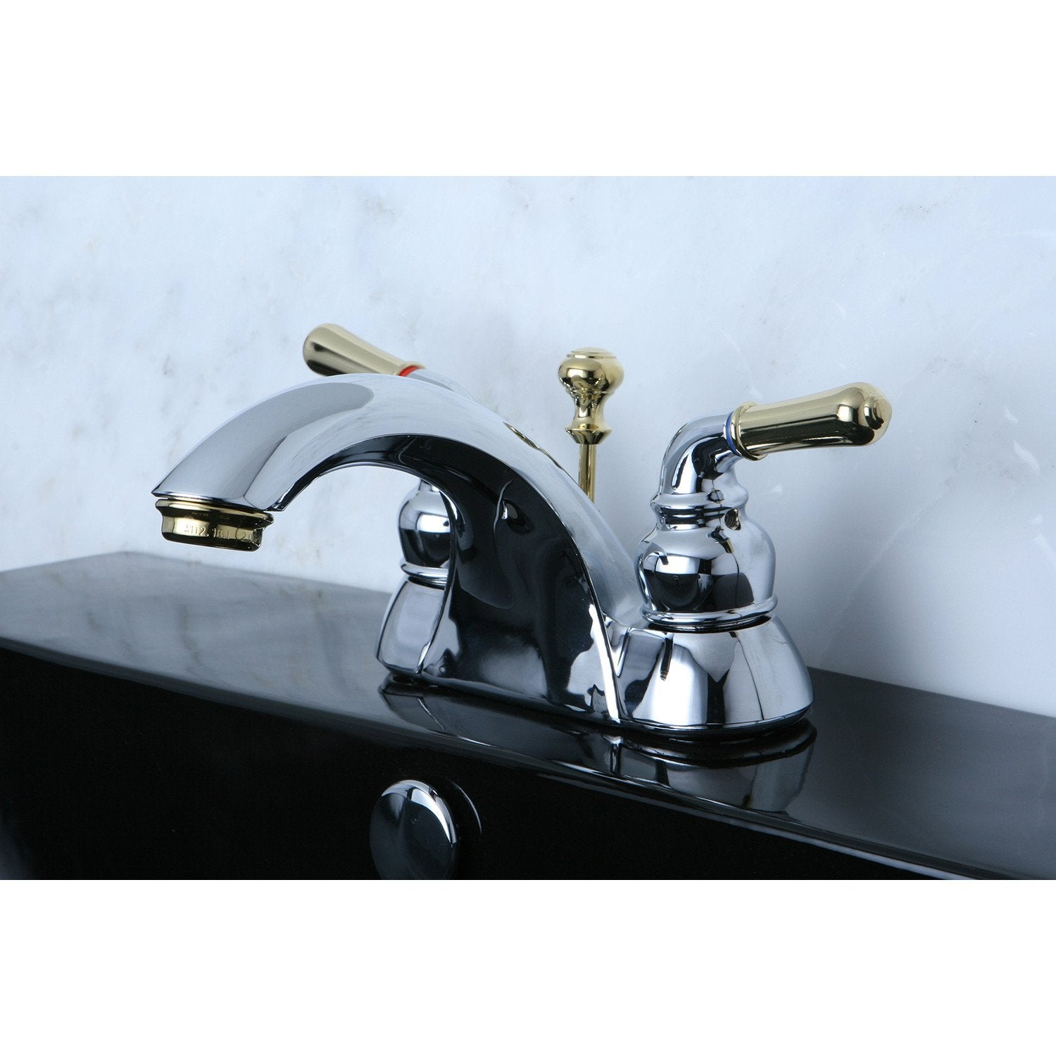 "Kingston Chrome/Polished Brass 4"" Centerset Bathroom Faucet w Pop-up KB2624"