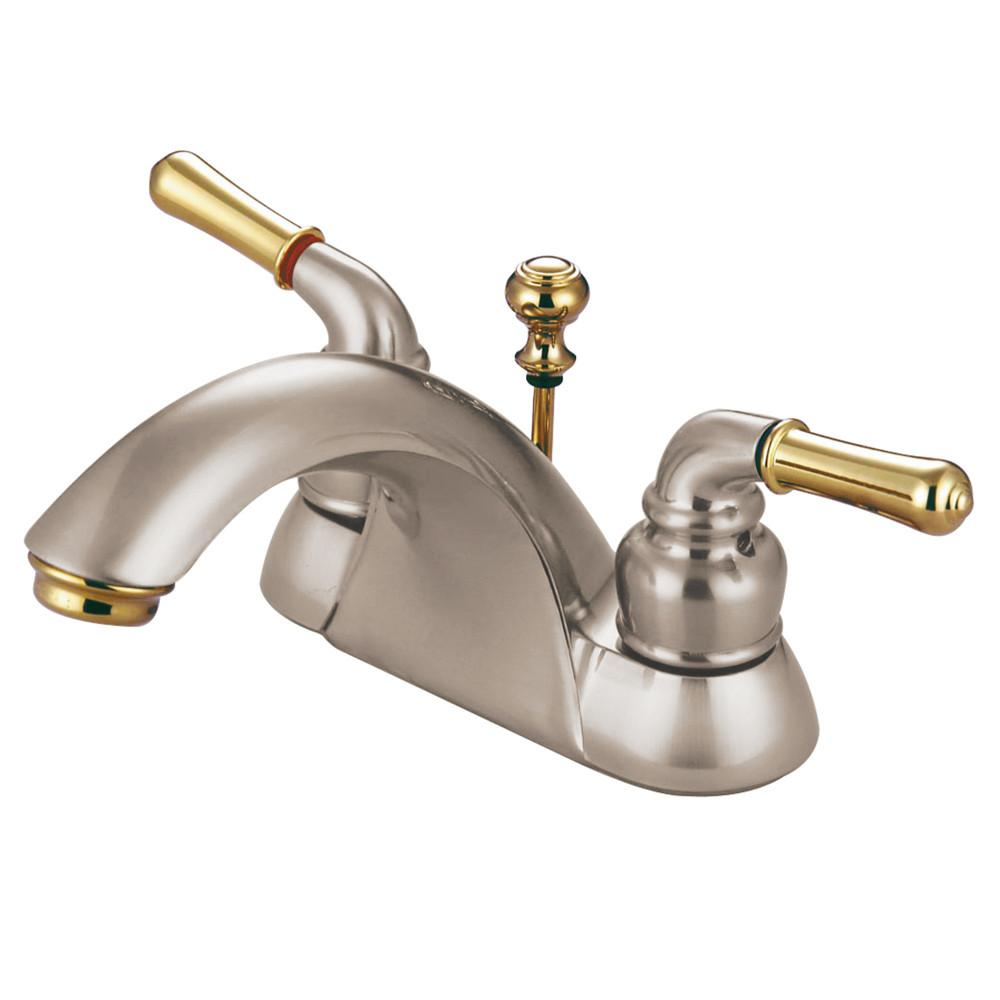 "Kingston Satin Nickel/Polished Brass 4"" Centerset Bathroom Faucet KB2629B"
