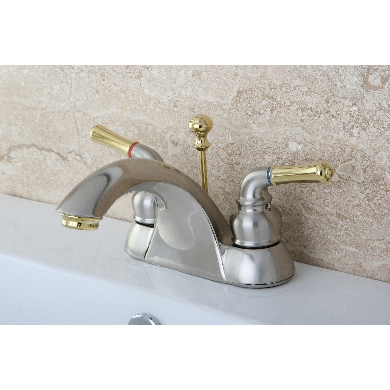 "Kingston Satin Nickel/Polished Brass 4"" Centerset Bathroom Faucet KB2629"