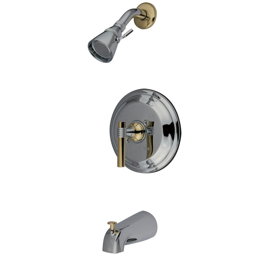 Kingston Chrome/Polished Brass Single Handle Tub & Shower Combo Faucet KB2634ML