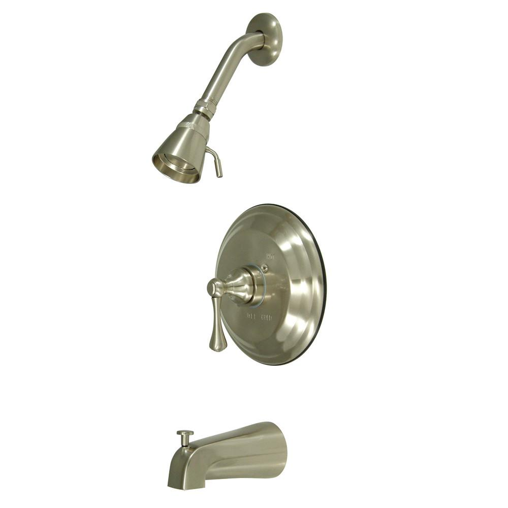 Kingston Satin Nickel Single Handle Tub and Shower Combination Faucet KB2638BL
