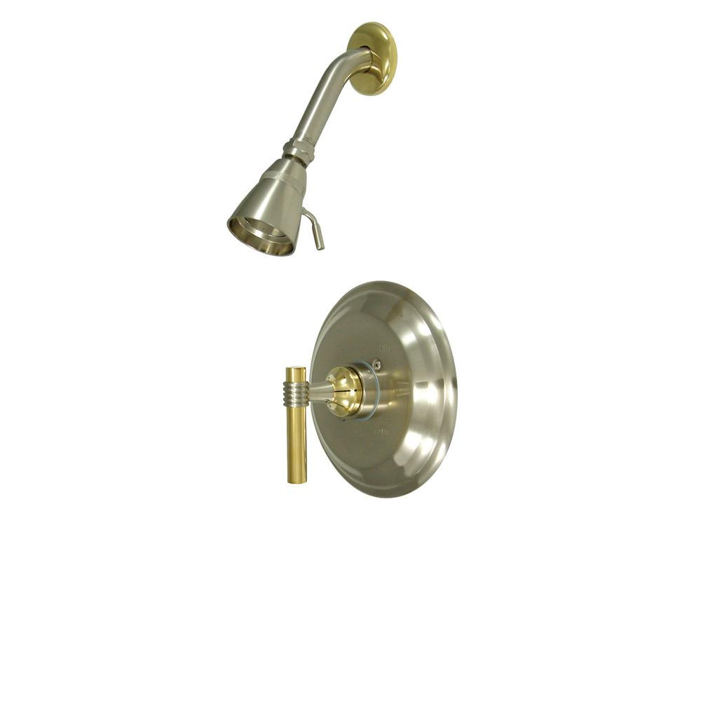 Kingston Satin Nickel/Polished Brass Single Handle Shower Only Faucet KB2639MLSO