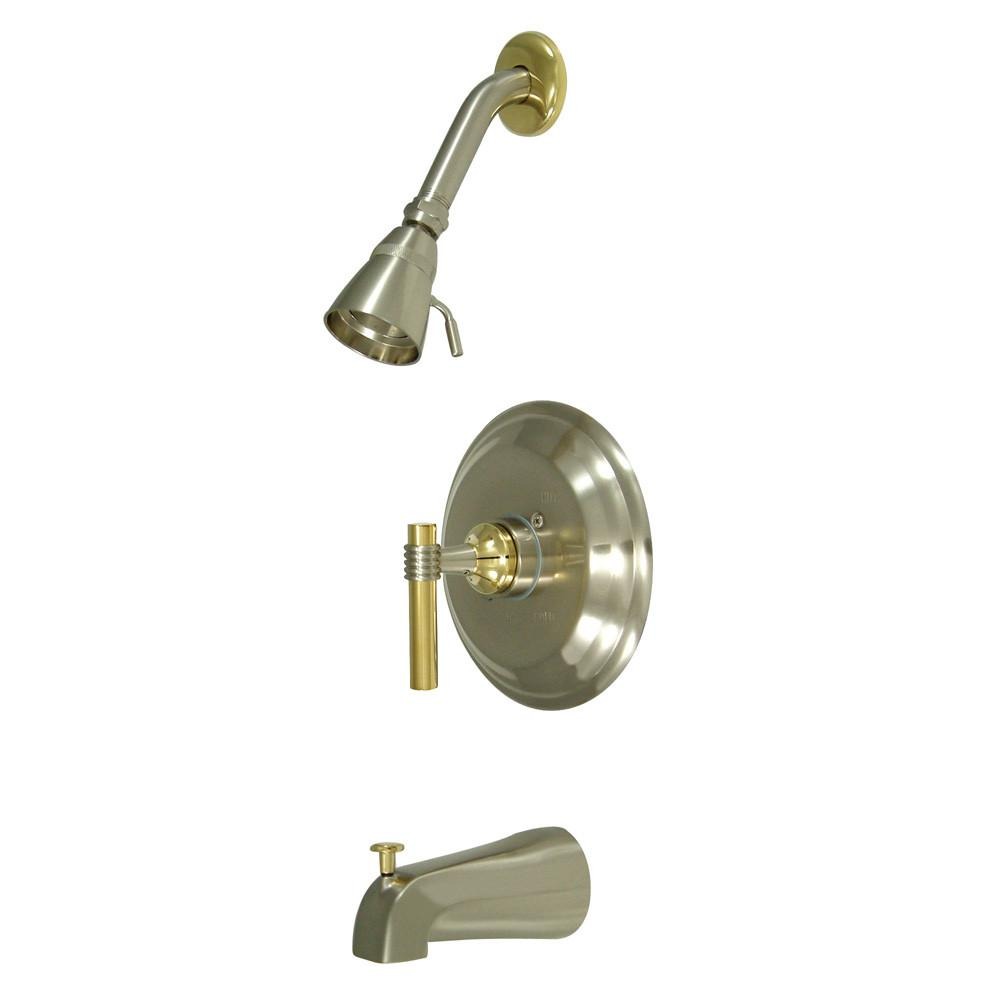 Kingston Satin Nickel/Polished Brass 1 Handle Tub & Shower Combo Faucet KB2639ML