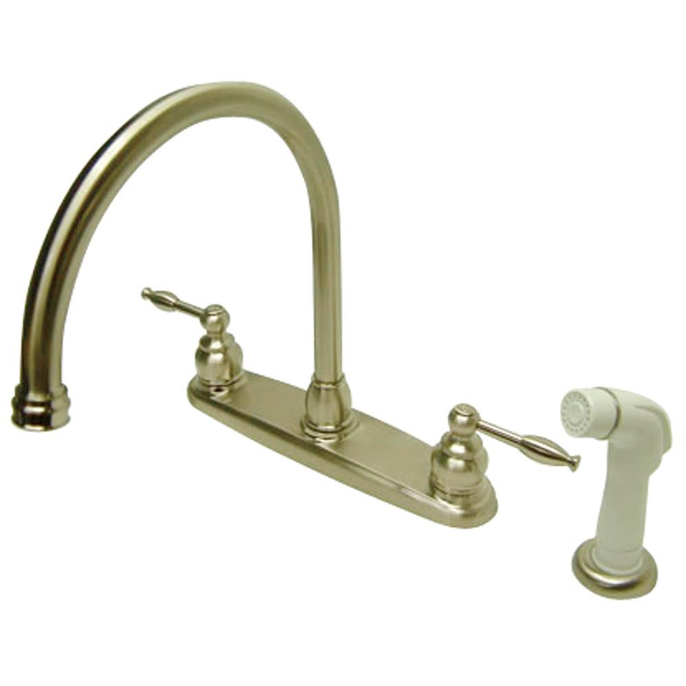 "Kingston Brass Satin Nickel 8"" Goose Neck Kitchen Faucet KB2798KL"